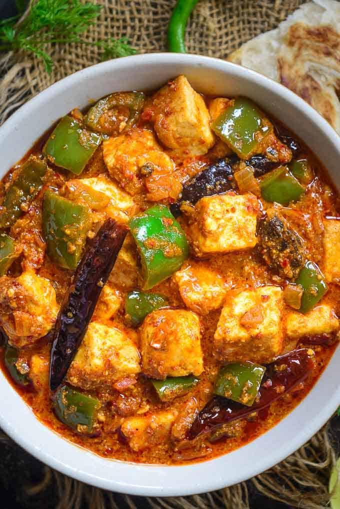 Close up shot of kadai paneer recipe.
