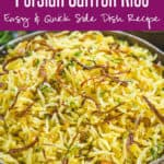 Steamy, filling and very aromatic, Saffron Rice is mainly prepared using plain Basmati rice, caramelised onions and saffron strands. It is a savoury dish with a pleasant yellow colour that is sure to pep up your party menu as well. Here is how to make Persian Saffron Rice. #Moroccan #Middleeastern #Recipes #Rice #Dishes #Saffron