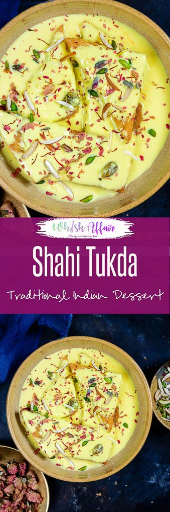 Shahi Tukda or Shahi Tukra is a traditional Hyderabadi Dessert made by deep frying bread slices in ghee and dunking it in sugar syrup. #Indian #Sweet #Dessert #Festival