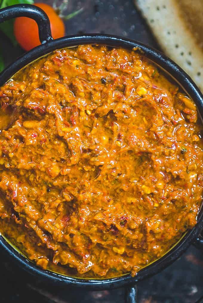 Close up shot of tomato nilava pachadi.