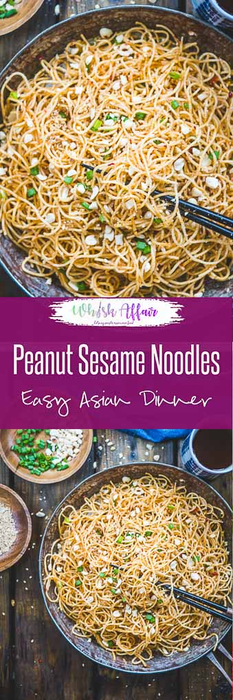 Running low on groceries? Make a wok-full of these super easy, spicy and stir-fry Peanut Sesame Noodles then! They are sizzling, saucy, piping hot and loaded with the zing of sauces, sesame and peanuts. Here is how to make Sesame Peanut Noodles. #Asian #Noodles #Quick #Dinner