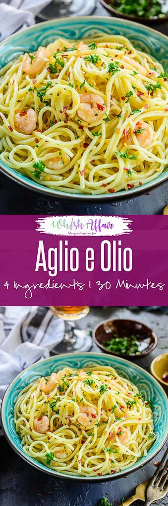 Garlic Shrimp Pasta Aglio E Olio is one of the simplest pasta recipe ever yet one of the most delicious. Try this 4 ingredient recipe and make the best pasta dish ever. #Italian #Spaghetti #Dinner #Recipes