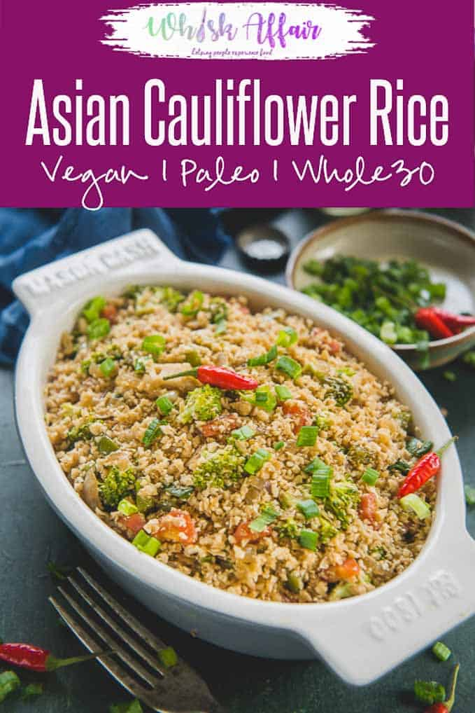 Asian Cauliflower Rice is a delicious recipe which tastes just as good as your favourite asian style fried rice. The best part is that it's healthy, Keto, whole 30, low carb, paleo, vegan and gluten free too. Here is how to make Asian Cauliflower Fried Rice.#Healthy #Cauliflower #Rice