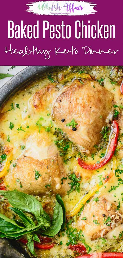 A scrumptious fusion of basil pesto, chicken, cheese and more, this Creamy Baked Pesto ChickenThighsRecipe gets baked within 30 minutes and you could spend the rest licking your plates clean, ha! Check out the recipe to make this tasty pesto chicken bake here. #Chicken #Dinner #Recipes