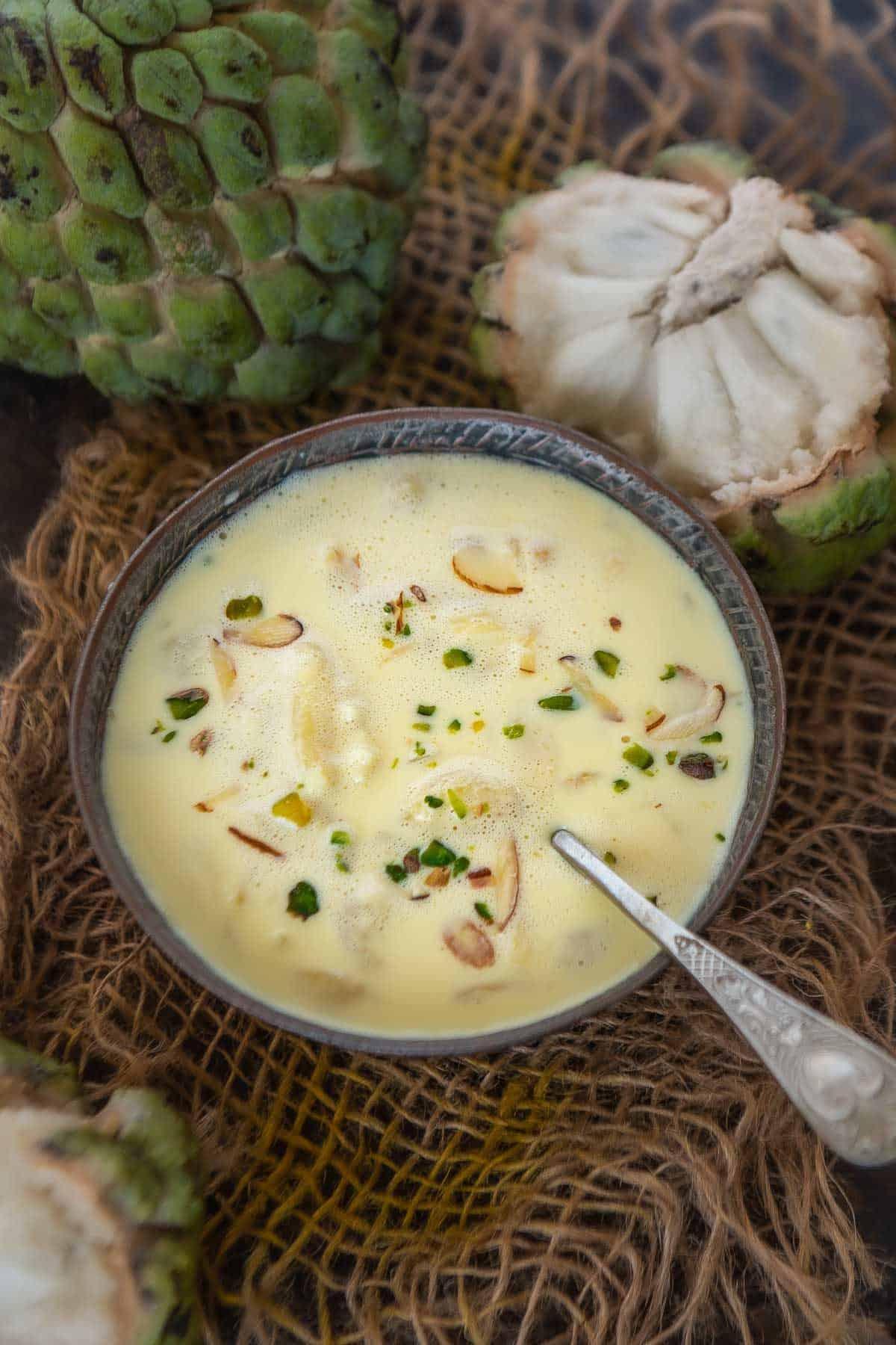 Custard Apple Basundi served in a bowl.
