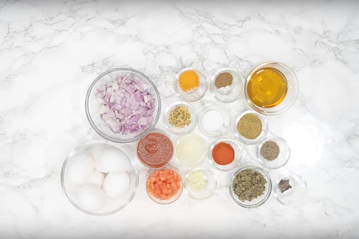 Egg curry ingredients.