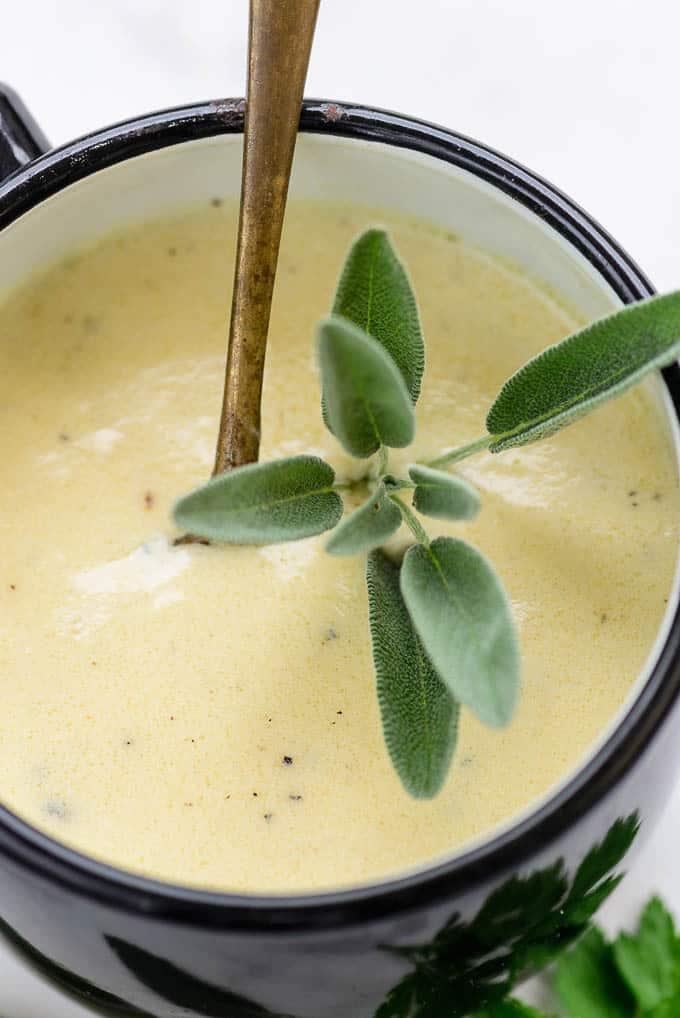 Close up shot of garlic parmesan sauce recipe.