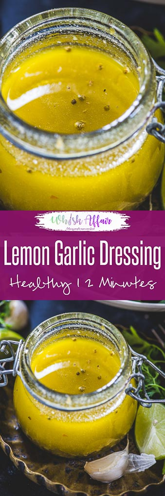 Spruce up your salad game this summer with this lip-smacking Lemon Garlic Salad Dressing. It has a refreshing shot of dijon mustard, olive oil, lemon zest, lemon juice. And it makes salads as wholesome as Apple Cider Vinegar. Here is how to make this lemon garlic dressing at home! #Healthy #Salad #Dressing #Lemon #Garlic