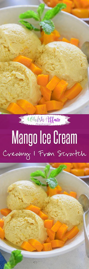 Mango Ice Cream makes for an easy dessert, and can be quickly done whenever the craving arises. Made using fresh mangoes, this dessert is surely delicious. Here is a classic recipe with custard as base and an eggless version too to make homemade Mango Ice Cream Recipe. #Homemade #Mango #Recipe #IceCream