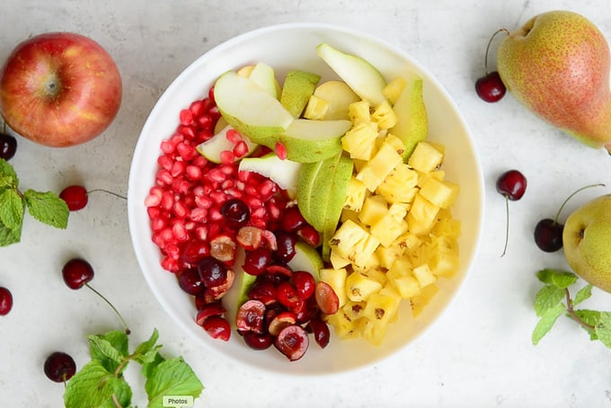 Fruits mixed in a bowl.