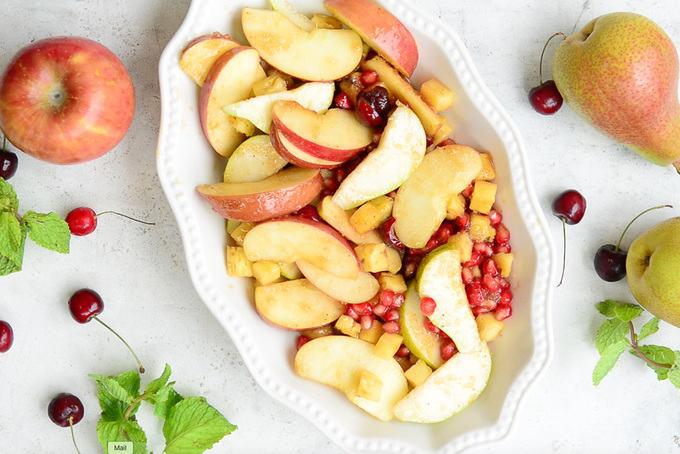 Fruits transferred on a baking tray.