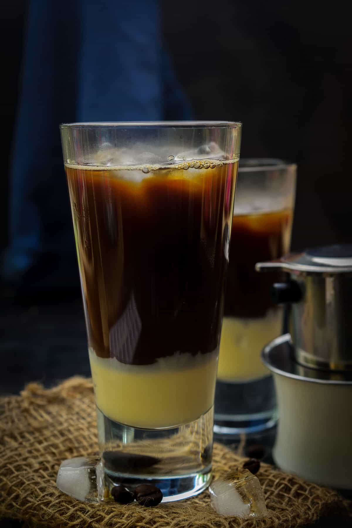 Condensed milk added in the glass.
