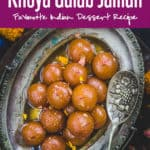 Gulab Jamun are classic Indian dessert which is enjoyed by everyone. These are delectably sweet balls delicately flavored with rose water and dunked in sugar syrup. #Indian #Sweet #Dessert #Diwali