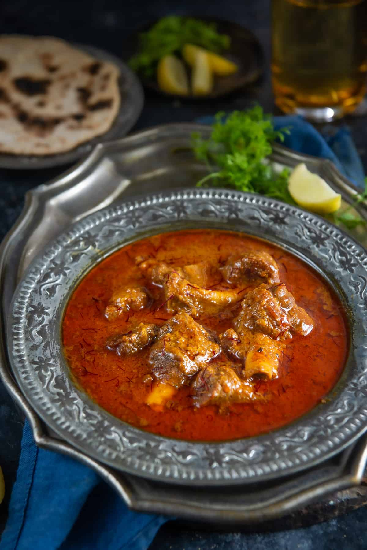 Mutton Korma served in a bowl.
