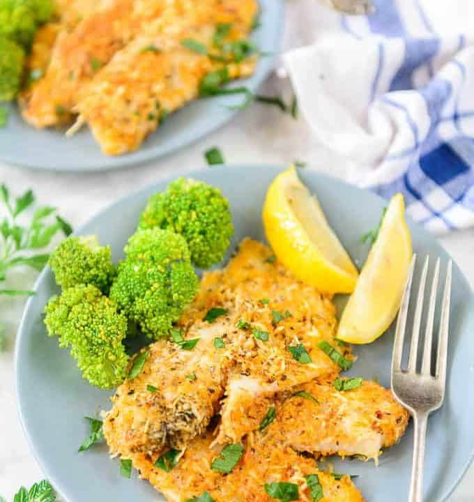 Parmesan crusted tilapia served in a plate.