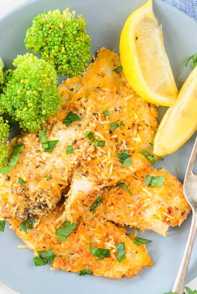 Close up shot of parmesan crusted tilapia recipe.