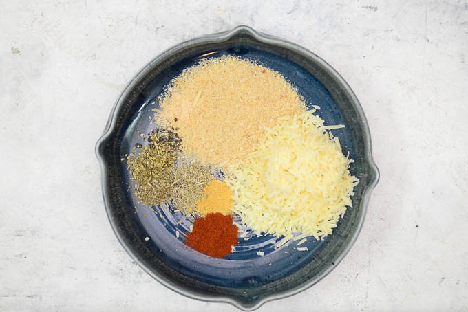Coating ingredients mixed in a bowl.