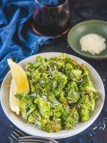 Parmesan Roasted Broccoli served in a bowl.