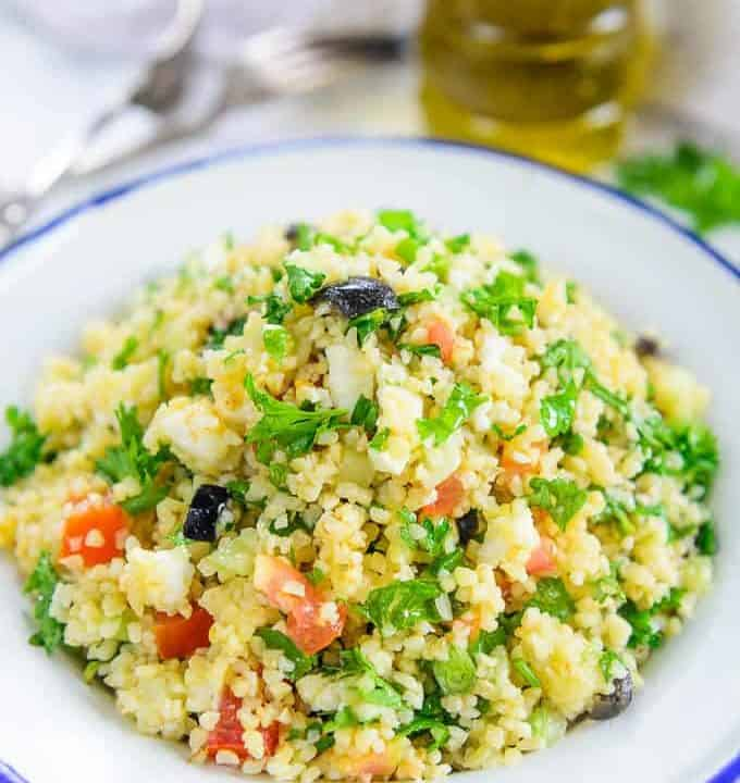 Tabouli Salad served in a bowl.