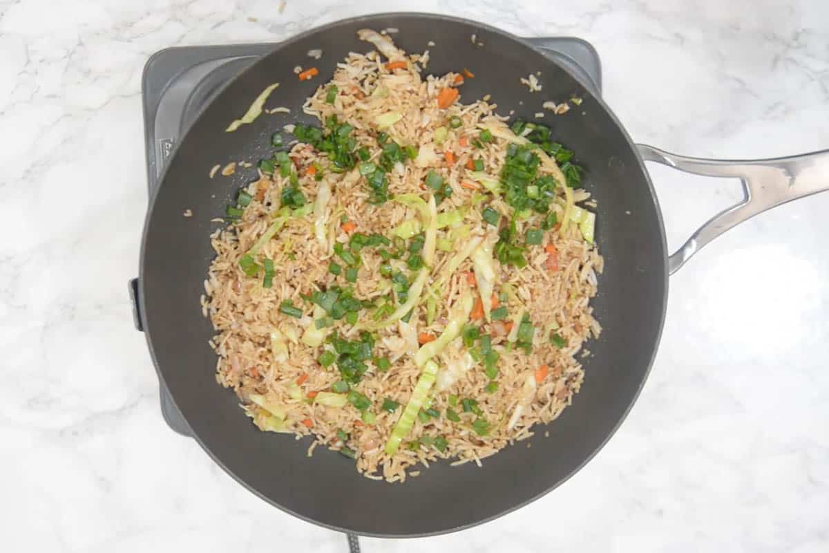Ready vegetable fried rice.