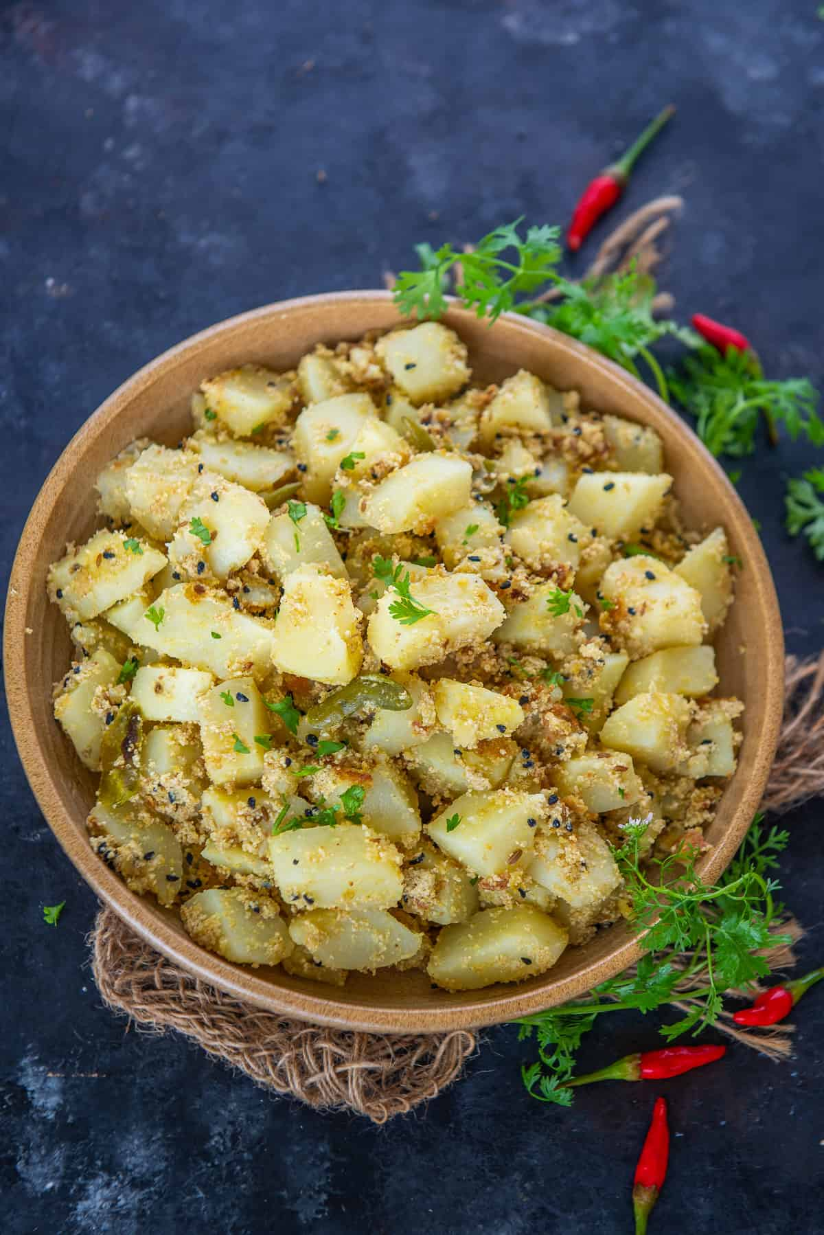 Bengali aloo posto served in a bowl.