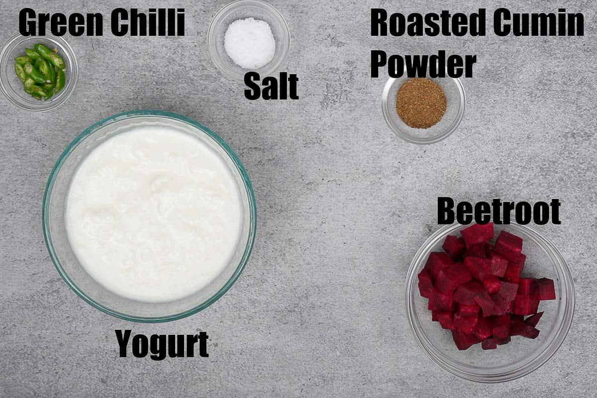 Beetroot raita ingredients.