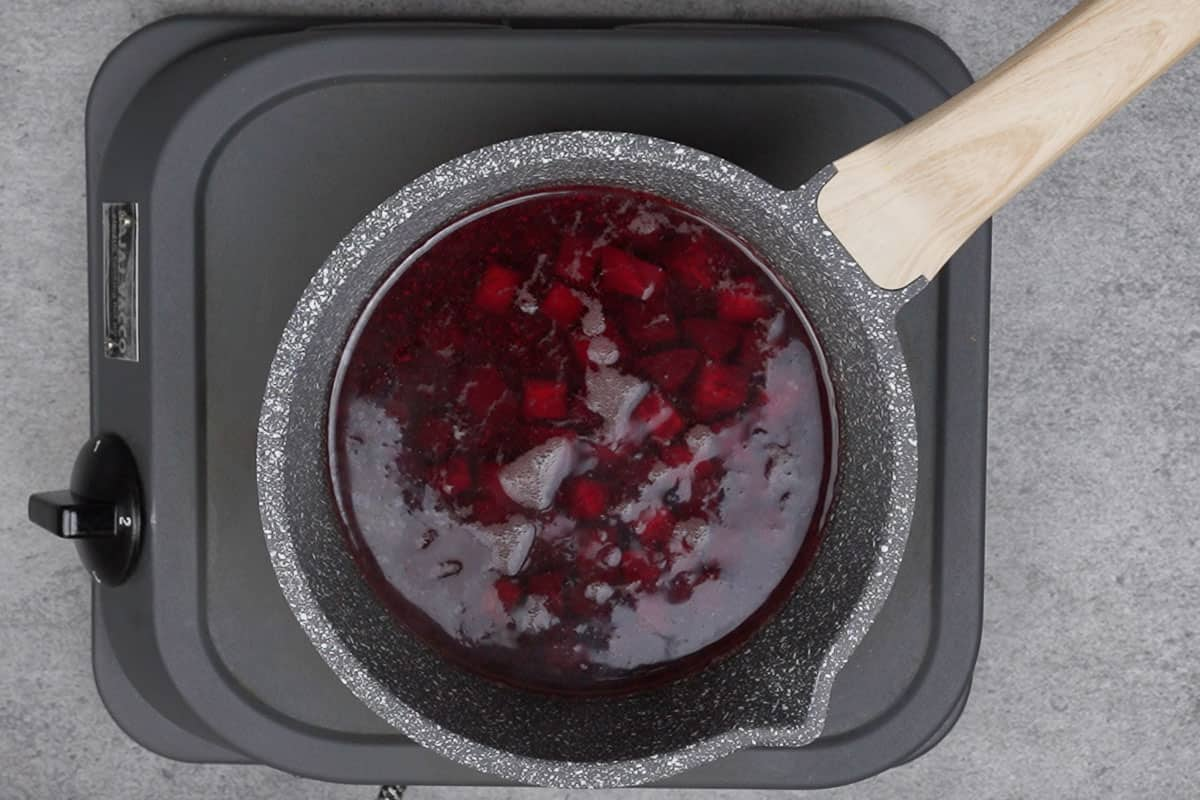 Beetroot cubes aded to boiling water.