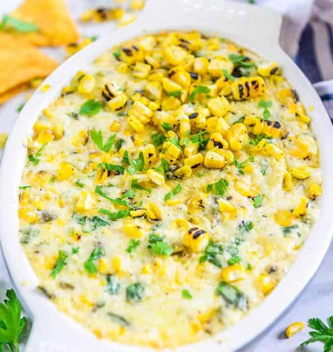 Mecican corn dip served in a bowl.