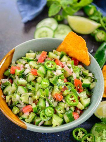 Cucumber salsa served in a bowl.