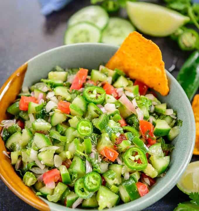 Cucumber salsa served in a bowl.