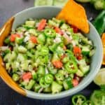 Got a stock of fresh cucumbers piling up? This zesty Cucumber Salsa is a great way to use them up! Loaded with full on Mexican flavours, I find recipe for cucumber salsa very helpful for snacks and brunches!