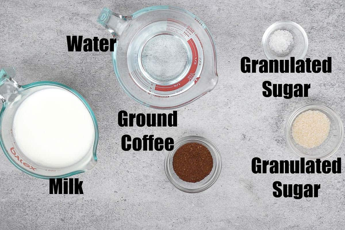 South Indian filter coffee ingredients.