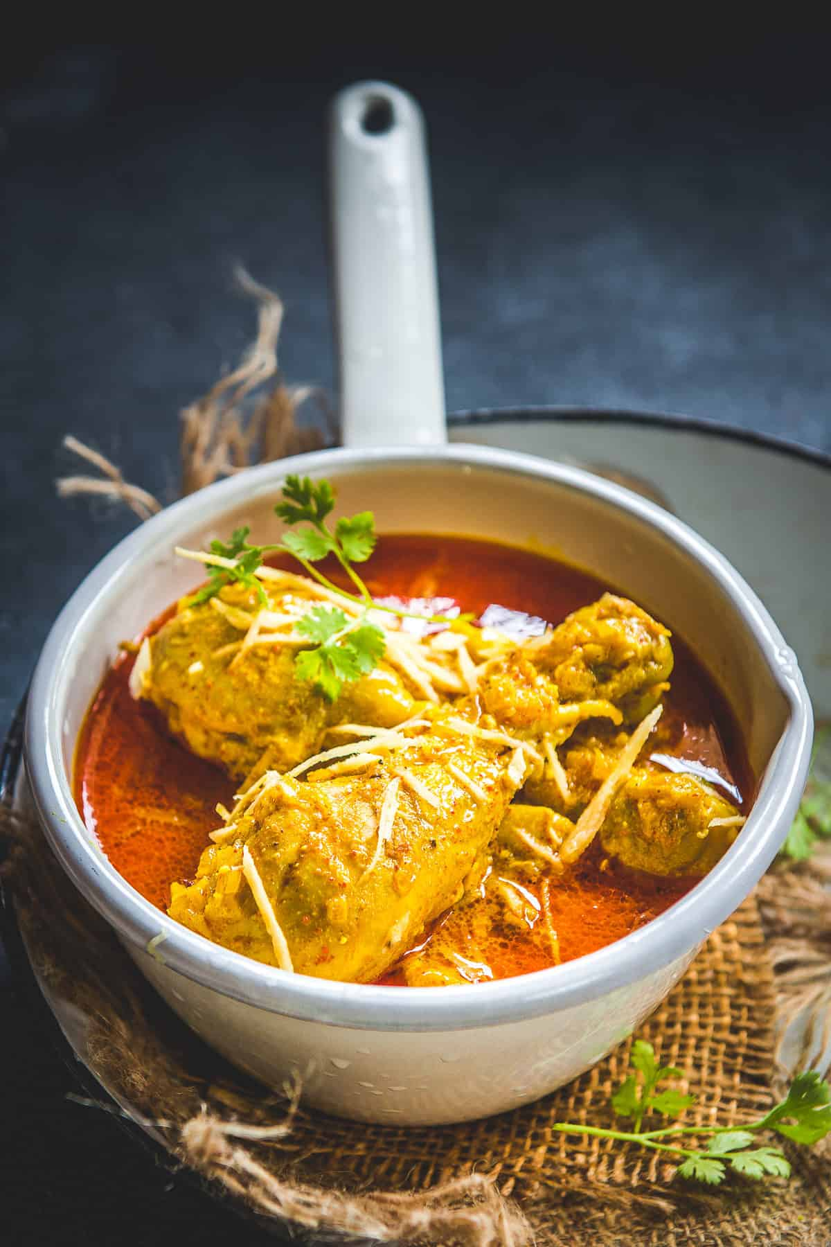 Ginger Chicken Curry served in a pan.