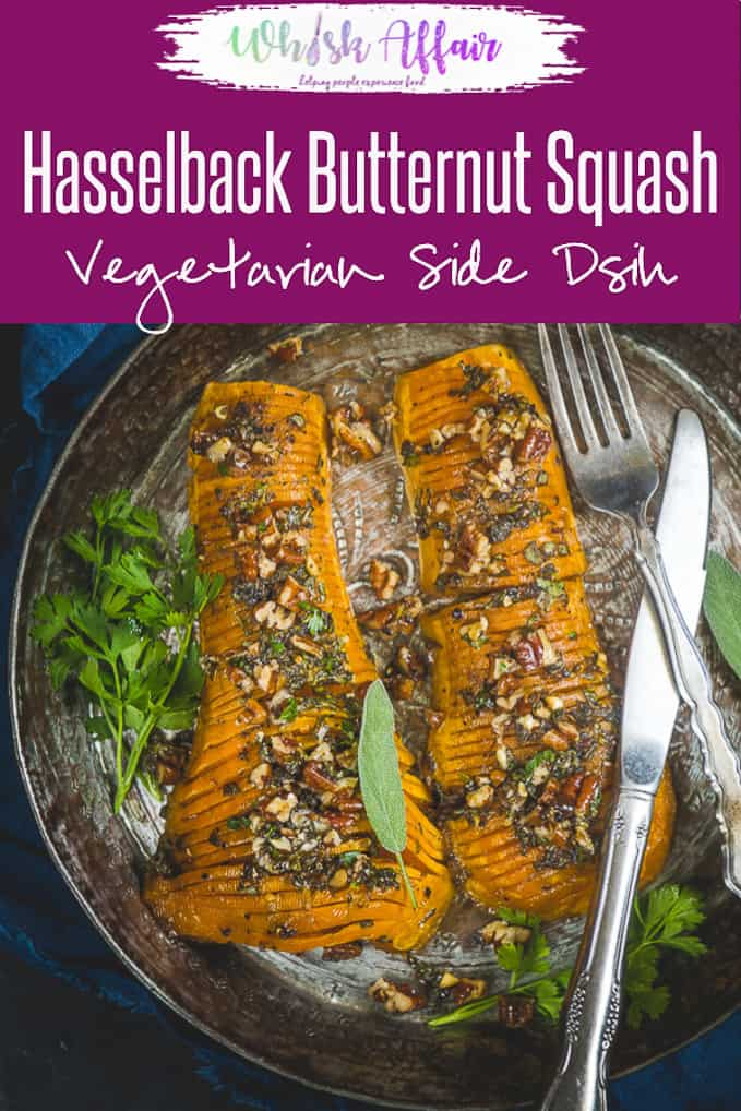 Looking for a stunning centre piece dish to make this festive season? This RoastedHasselback Butternut Squash slathered with a honey mustard glazeis the just the one you want. Make it using this easy recipe and impress your friends and family. Here is how to make Hasselback Butternut Squash. #Christmas #Thanksgiving #SideDish #Vegetarian #Easy #Butternut #Squash
