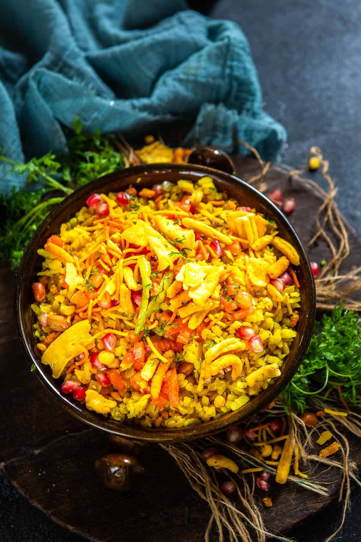 Indori poha served in a bowl.
