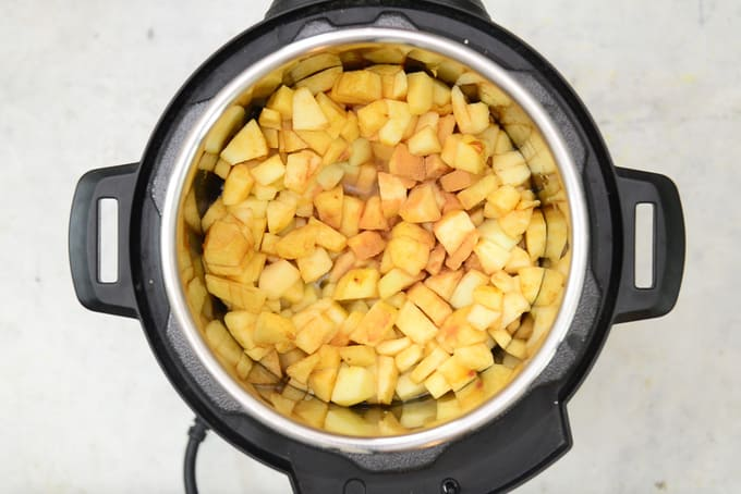 Apples added in instant pot.