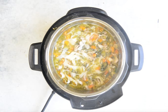 Noodles cooked in the pan.