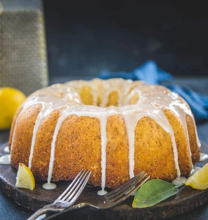 Lemon Pound Cake served on a platter.