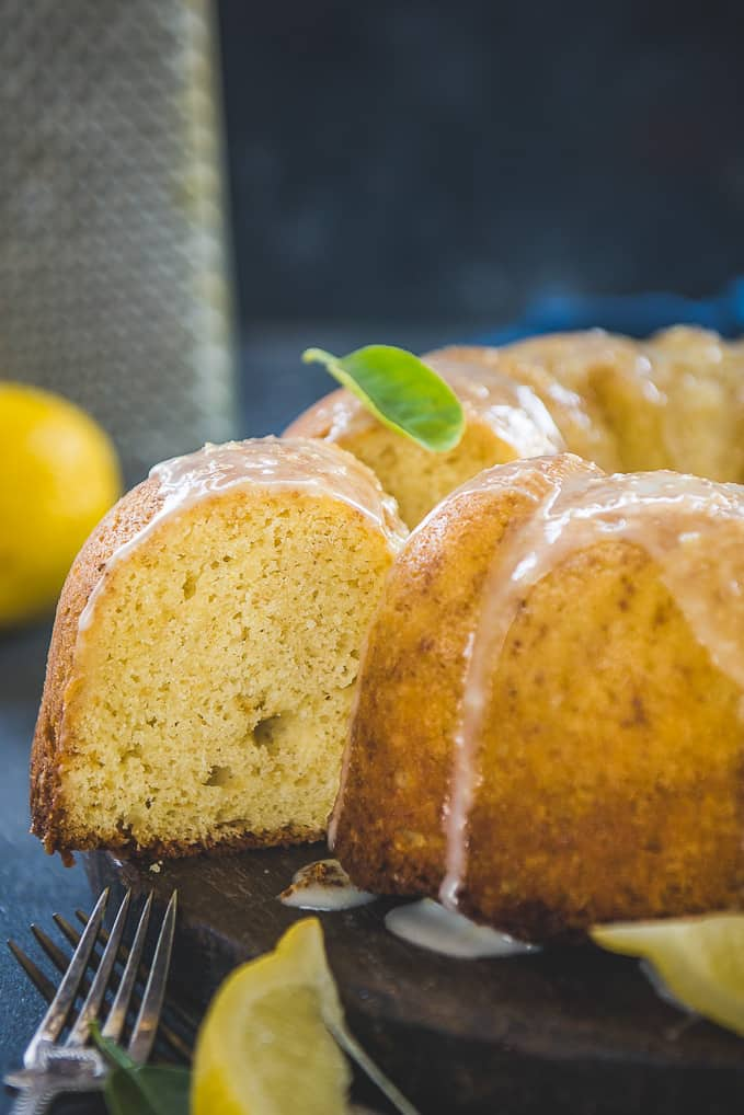 Close up shot of lemon pound cake recipe.