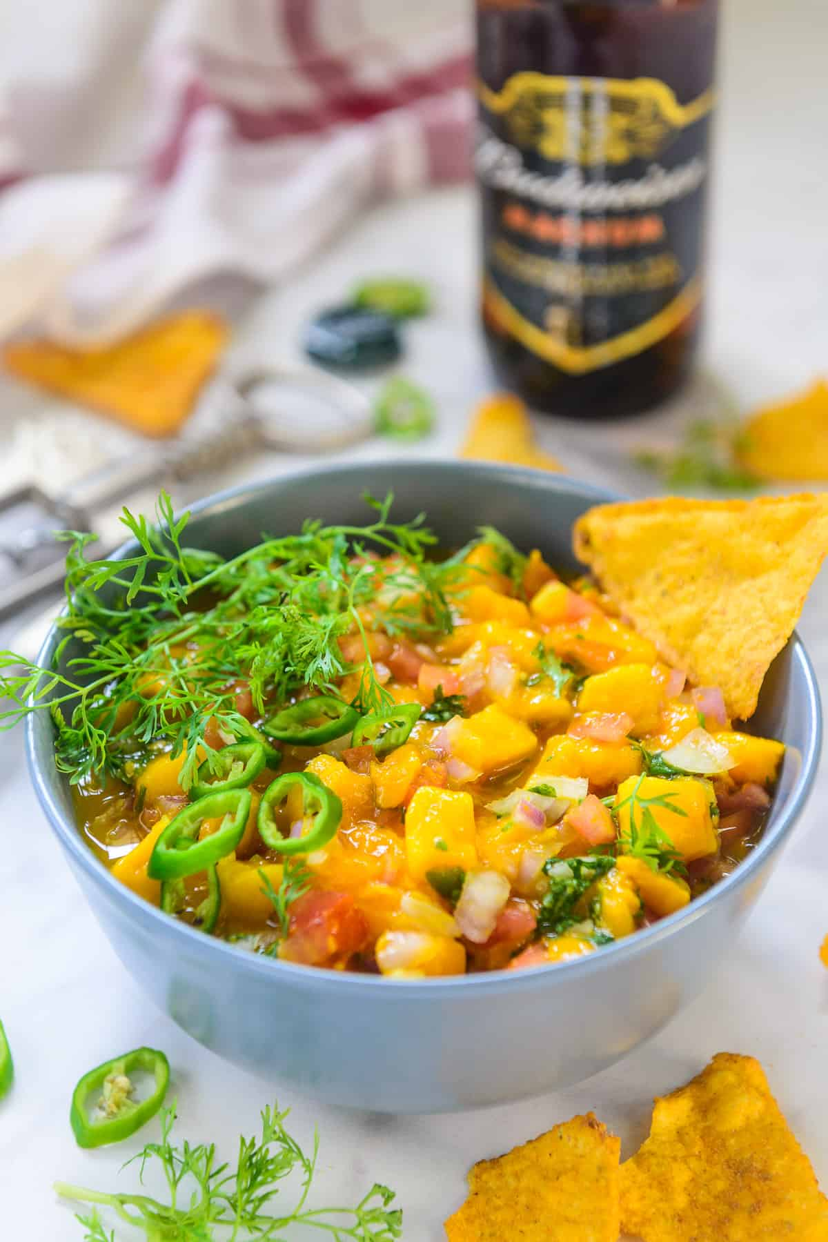 Mango Salsa served in a bowl.