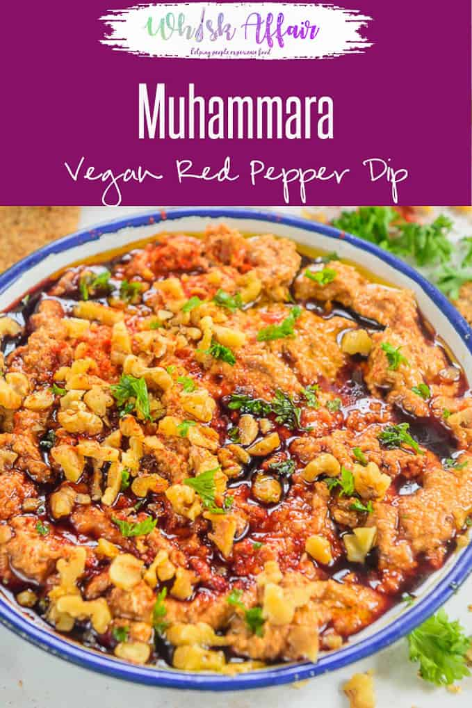 Muhammara is a classic Syrian dip.  It is made from roasted red peppers, walnuts and olive oil. You may serve it with pita, kebabs or grills. Moreover, it is also popular in Turkish and Lebanese cuisine as Acuka and is perfectly Vegan. So, here's how to make Muhammara Dip Recipe. #Dip #MiddleEastern #Party #Lebanese #vegan