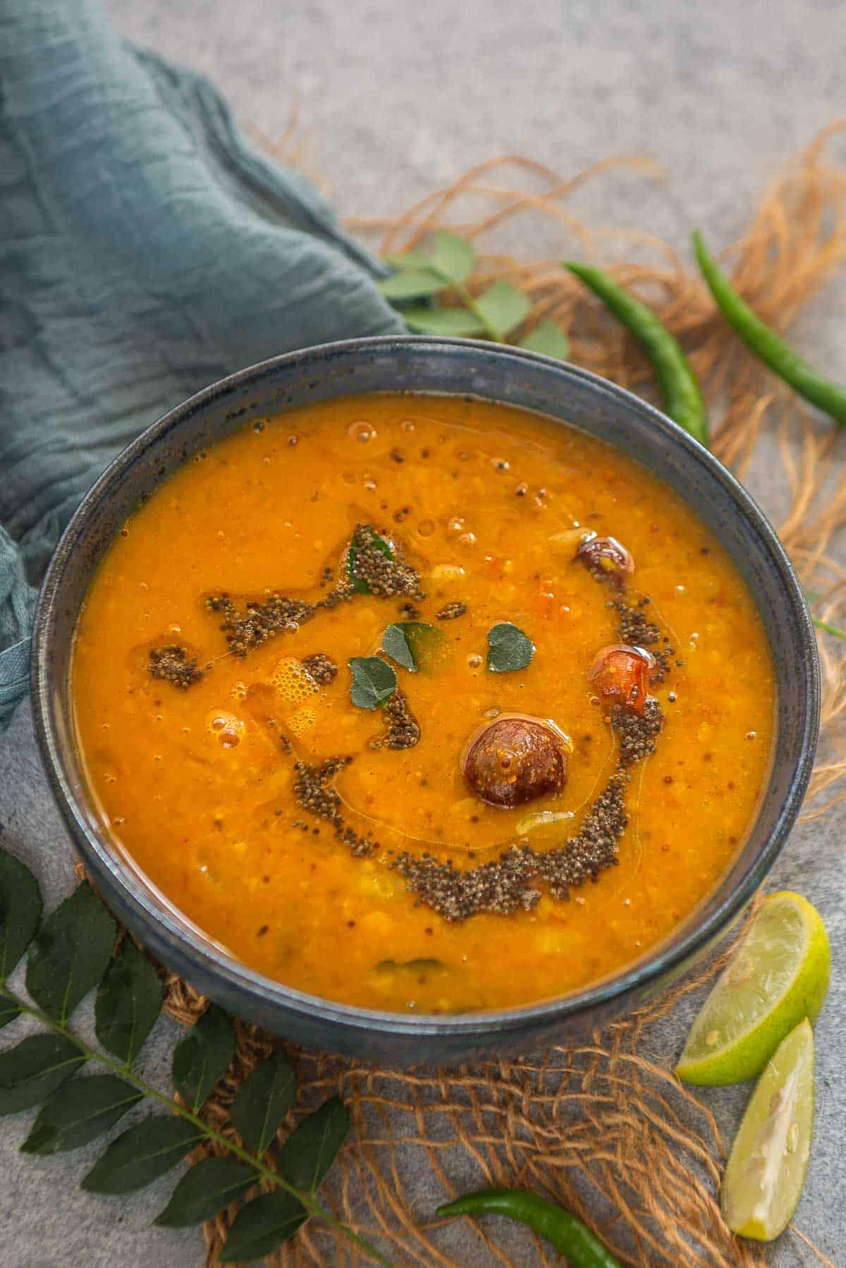 Radish sambar served in a bowl.