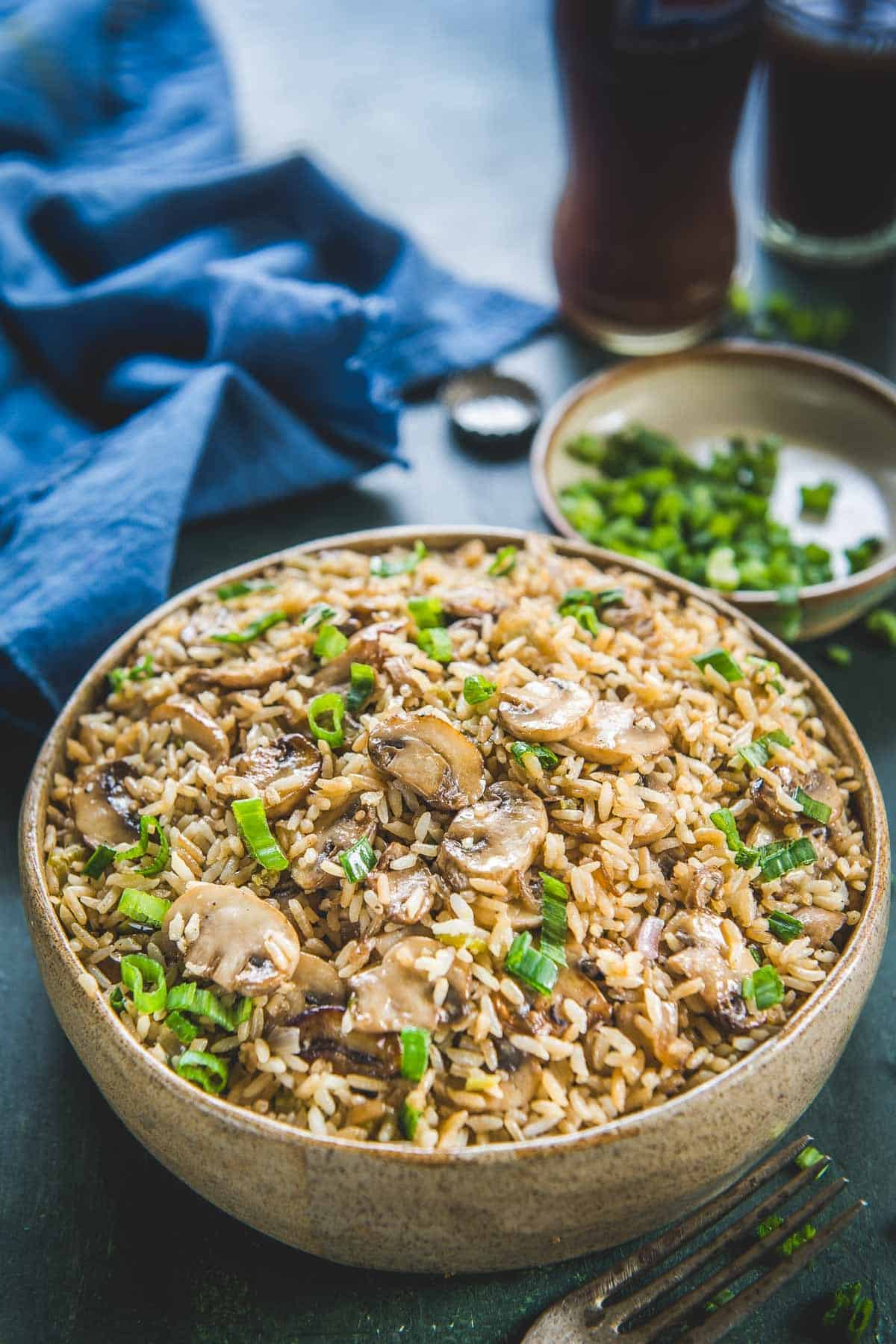 Mushroom Fried Rice served in a bowl.