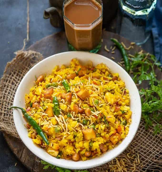 Poha served in a bowl.