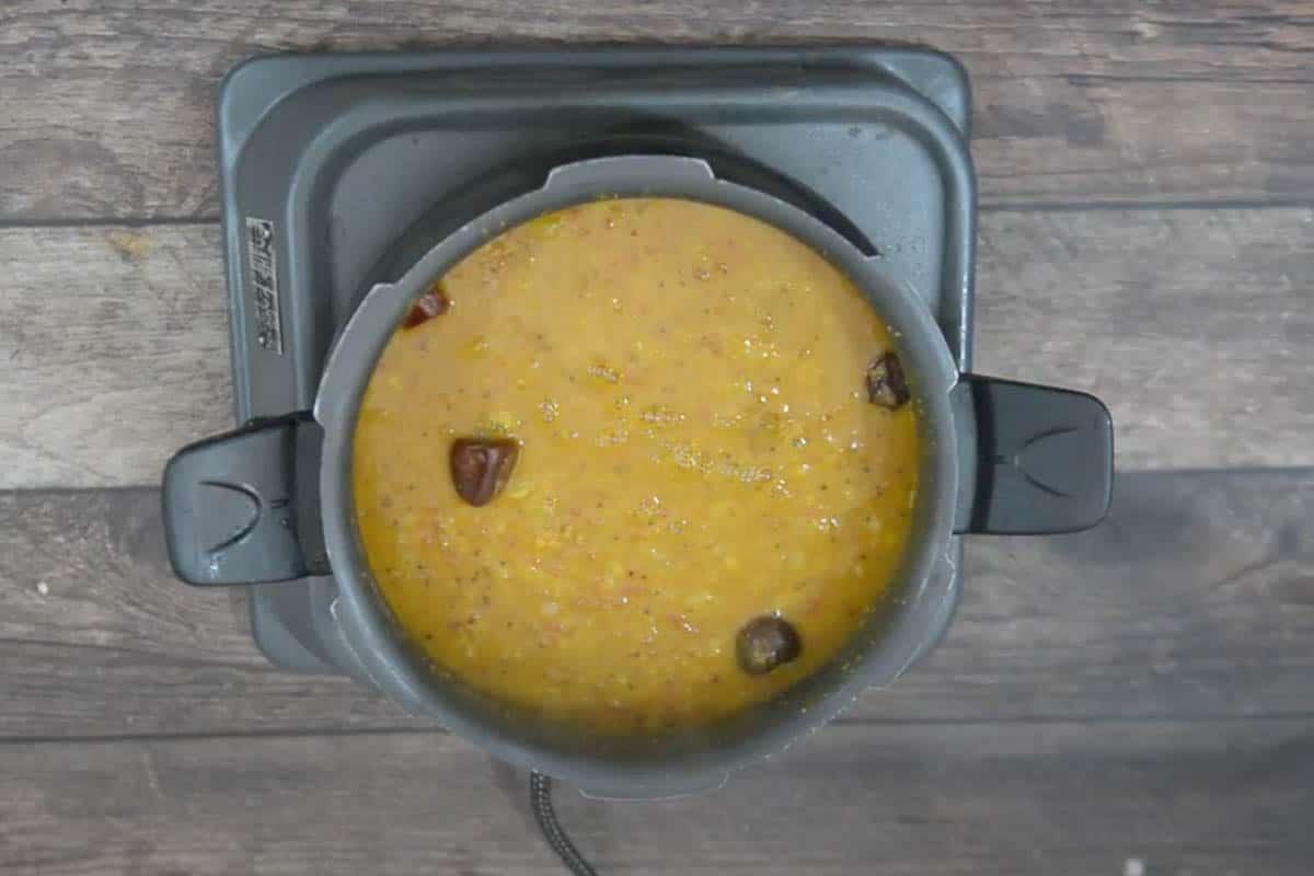 Cooked radish sambar.