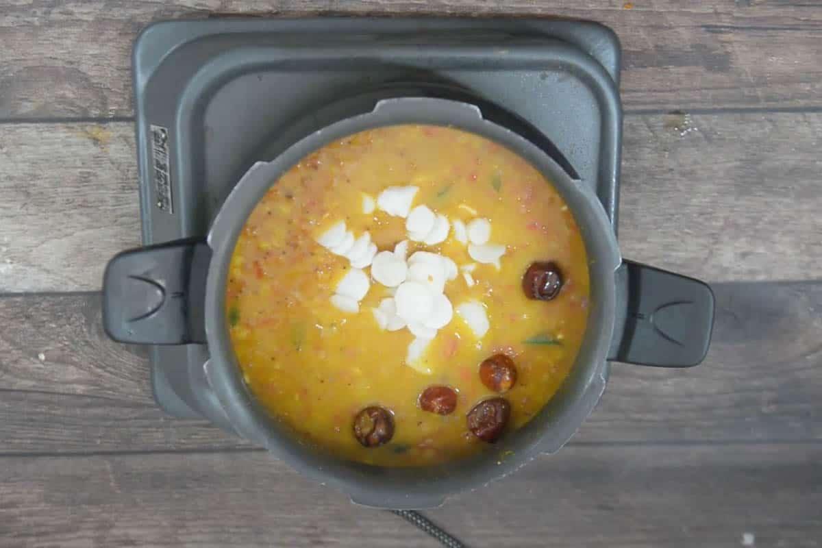 Radish added to the sambar.