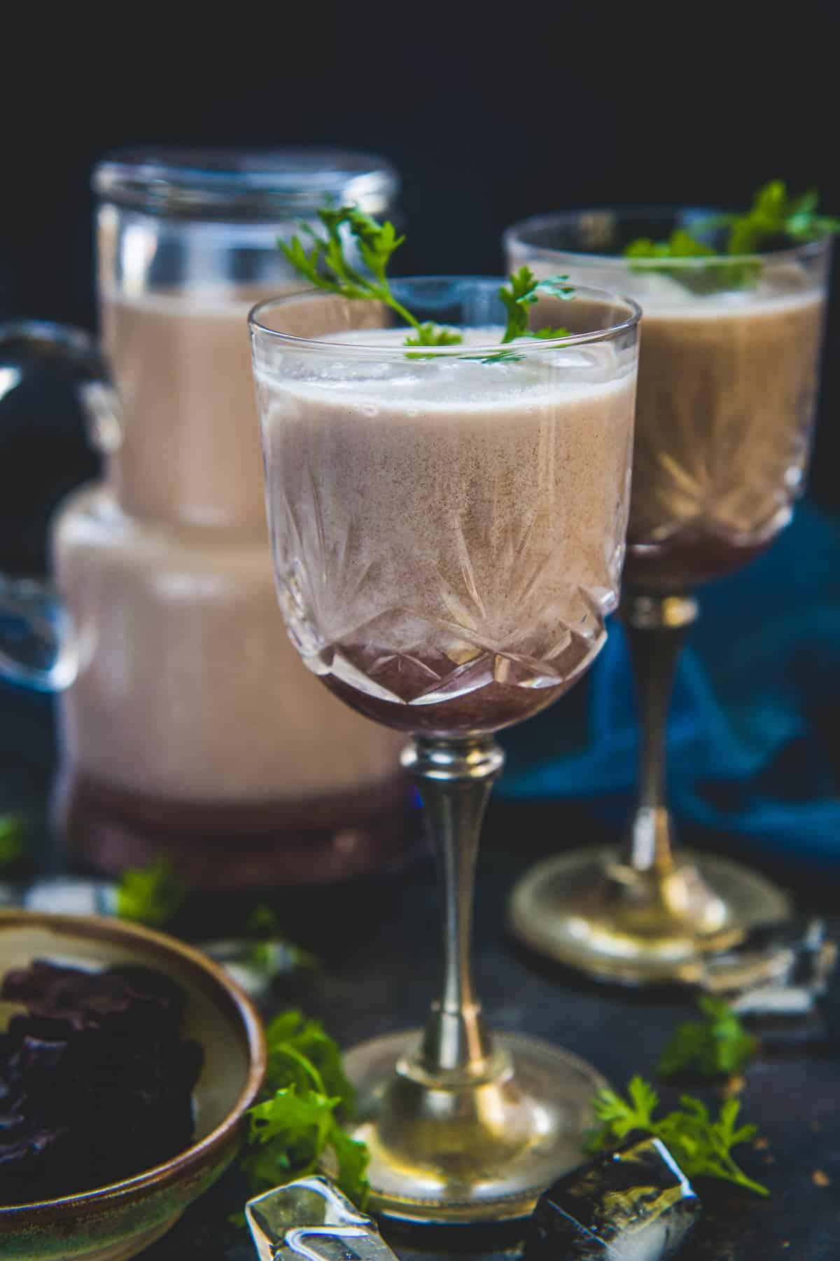 Solkadhi served in a glass.