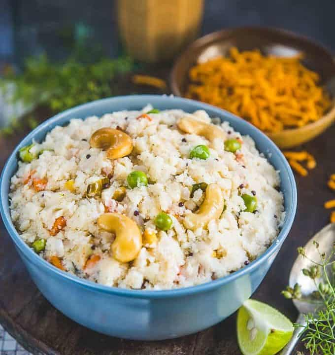 Upma served in a bowl.