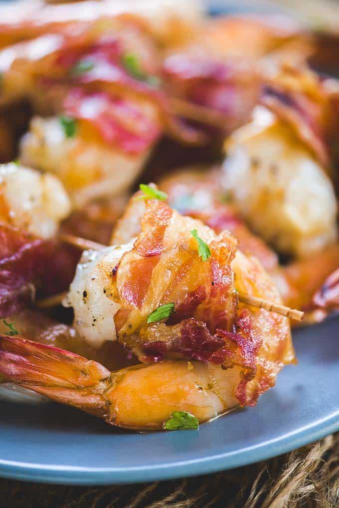 Close up shot of bacon wrapped shrimp recipe.