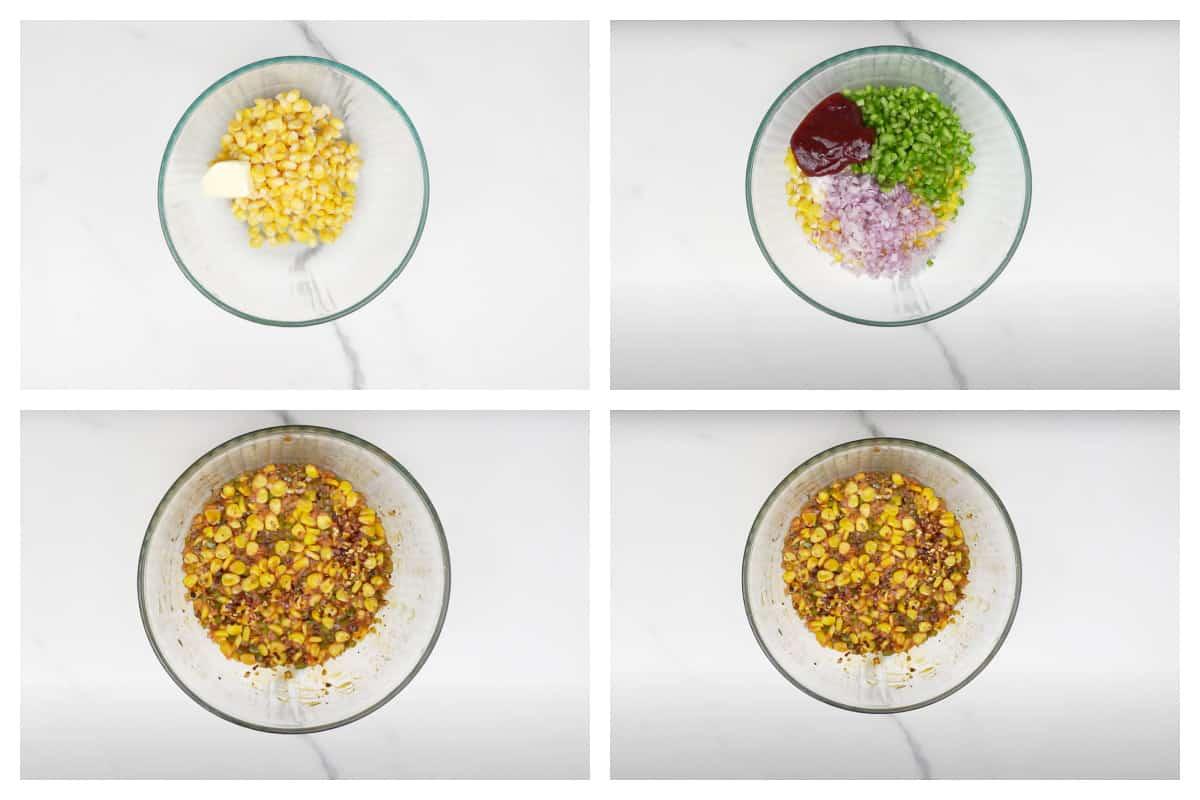 Steps to make Italian corn chaat.
